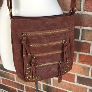 Brown Crossbody purse with zippers and studs